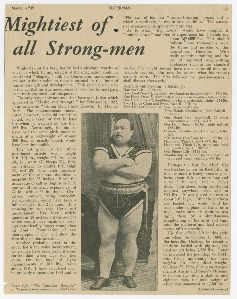Louis Cyr - Mightiest of all Strong-men continued